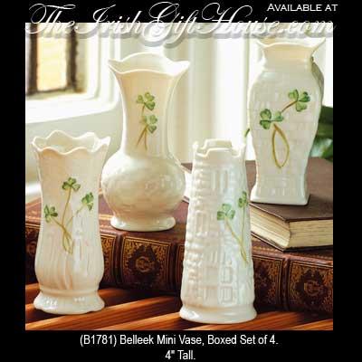 Belleek China Mini Vase Set