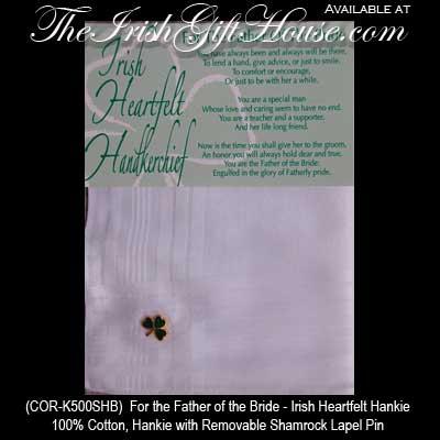 Wedding Gifts For Bride Ireland : Gifts on Father Of The Groom Irish Wedding Hankie Irish Wedding Gifts ...