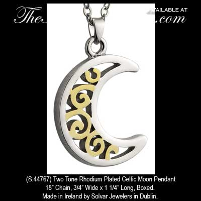 Two tone plated celtic moon necklace pendant solvar jewelry s44767 aloadofball Image collections
