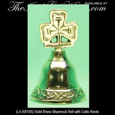Brass Shamrock Bell: Irish Wedding - Irish Gifts