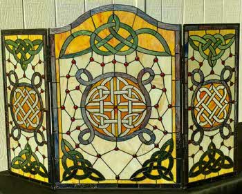 Celtic Fireplace Screens, Stained Glass