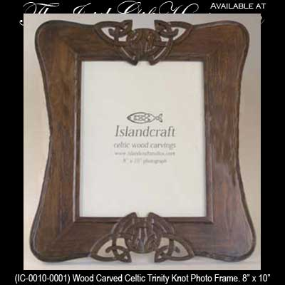 Irish Gifts Wood Carved Celtic Trinity Knot Photo Frame