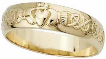 Irish Band EVDRT4VL Classic Yellow Gold Claddagh Band 14K Gold Claddagh Band Betrothal Rings