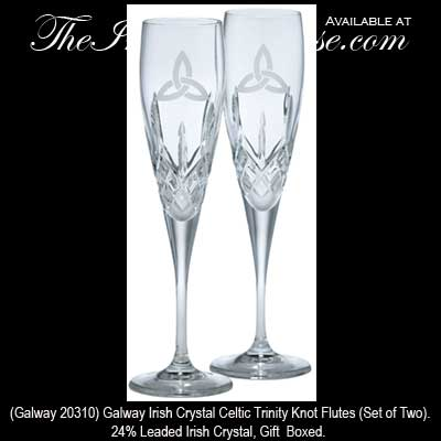 Crystal Champagne Flutes Galway Celtic