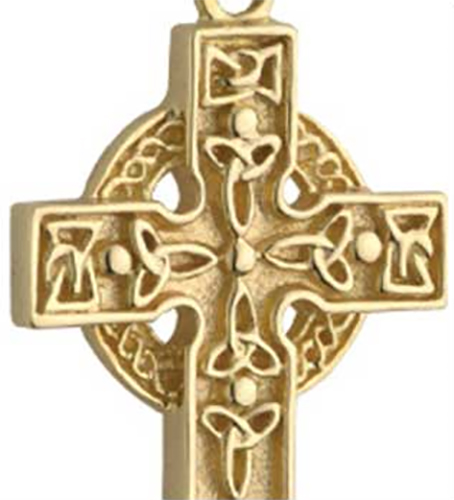 14k Yellow Gold-Filled Embossed and Hand Engraved Cross Pendant Necklace 18