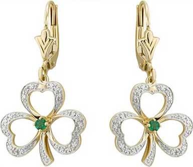 554d4febd Gold Shamrock Earrings