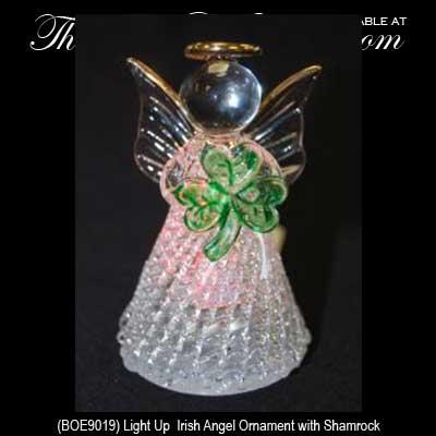 irish christmas ornament shamrock angel light up
