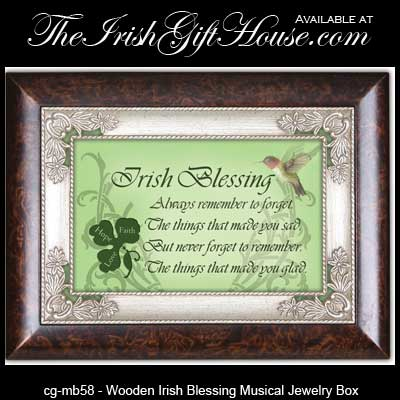 Musical Irish Jewelry Box Wooden Irish Blessing