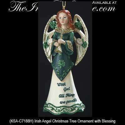 irish blessing christmas ornament shamrock angel - Angel Christmas Tree Ornaments