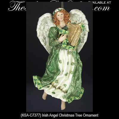 irish christmas ornament irish angel shamrocks - Angel Christmas Tree Ornaments