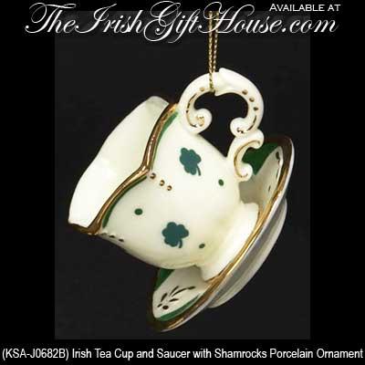- Irish Christmas Ornament: Shamrock Teacup
