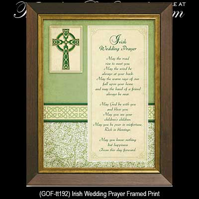 Irish Wedding Blessing Plaque: Framed