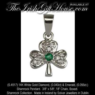 White gold shamrock necklace diamond and emerald solvar aloadofball Images
