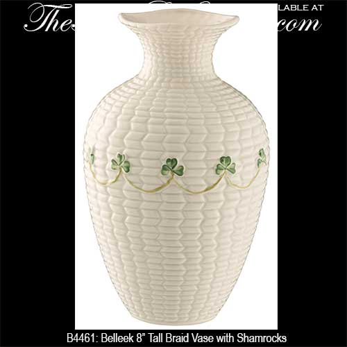 Belleek Vase With Shamrocks Braid Irish China