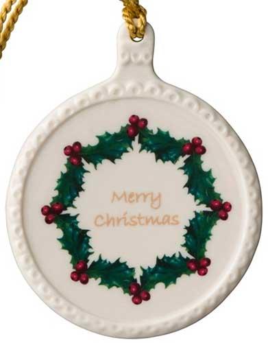 Merry Christmas In Irish.Belleek Ornament Merry Christmas