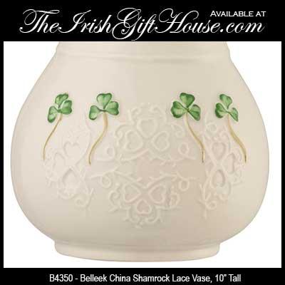 Belleek China Shamrock Lace Vase