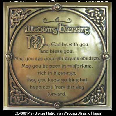 Irish Wedding Blessing Plaque - Bronze, Trinity Knots, Gifts