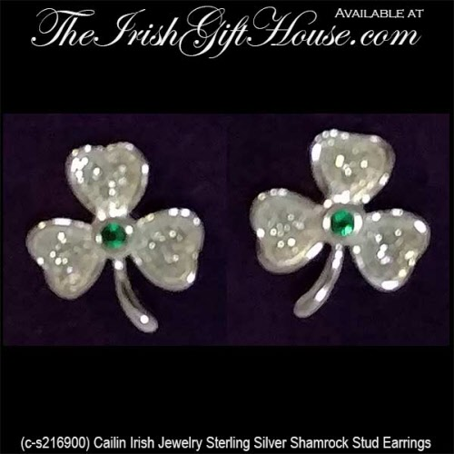 d6746d1b7 Silver Shamrock Stud Earrings: Emerald and CZ - Cailin Jewelry