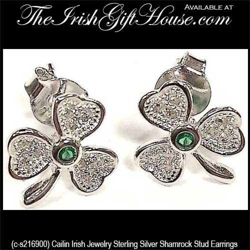 84ff5ca4b Silver Shamrock Stud Earrings with Emerald and CZ: The Irish Gift House
