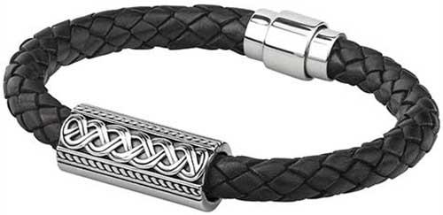 Mens Sterling Silver Celtic Bracelet Leather