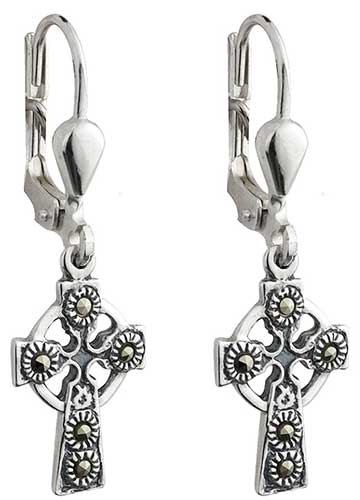 f4b0885b5 Celtic Cross Earrings - Sterling Silver - Marcasite
