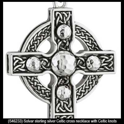 Heavy silver celtic cross necklace celtic knots aloadofball Image collections