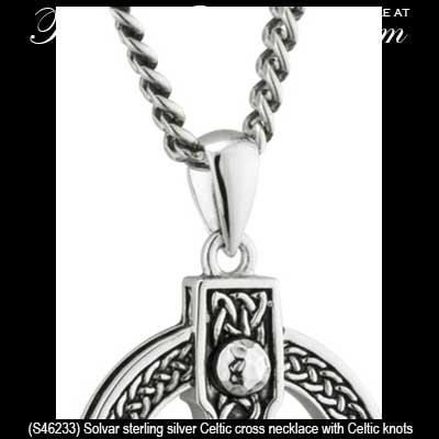 Heavy silver celtic cross necklace celtic knots aloadofball Choice Image