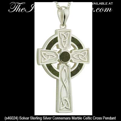 Sterling silver celtic cross necklace mens connemara marble aloadofball Image collections