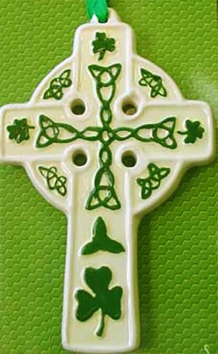 Clovers Irish Porcelain Celtic Cross Ornament Shamrocks
