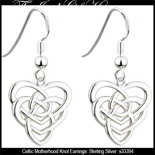 Celtic Motherhood Knot Earrings: Sterling Silver