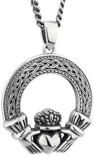 Claddagh Necklace For Men Sterling Silver
