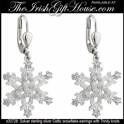 Celtic Snowflake Earrings Sterling Silver
