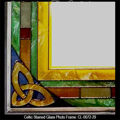 irish picture frame with celtic knots stained glass