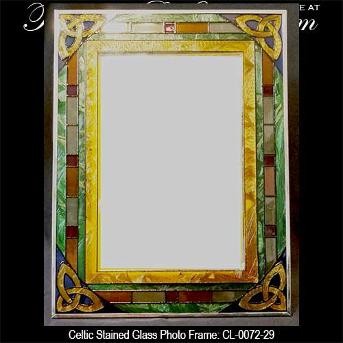 Irish Picture Frame with Celtic Knots, Stained Glass