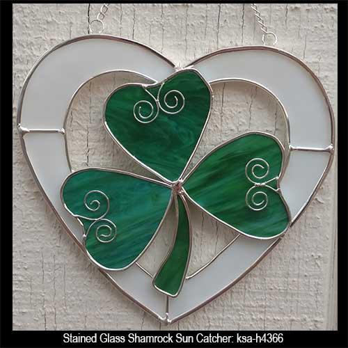 celtic stained glass suncatcher with shamrocks heart
