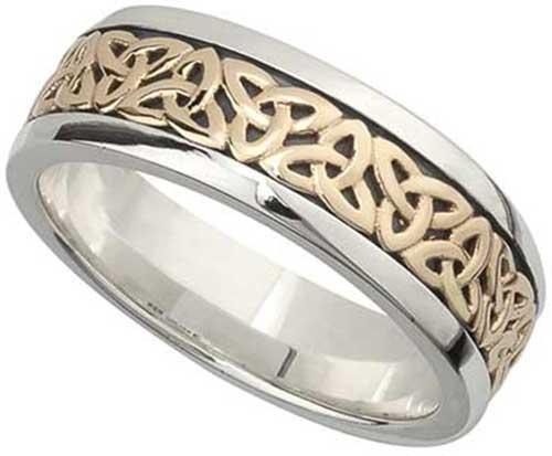 Mens Celtic Wedding Band - Silver - Trinity - 9