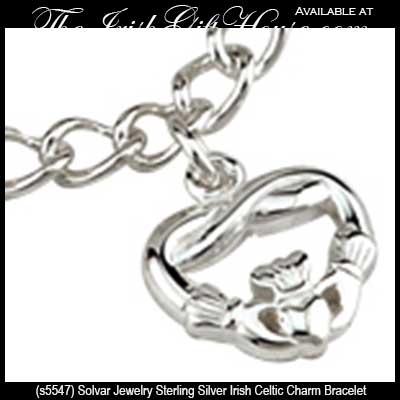 Sterling Silver Celtic Charm Bracelet Irish Symbols