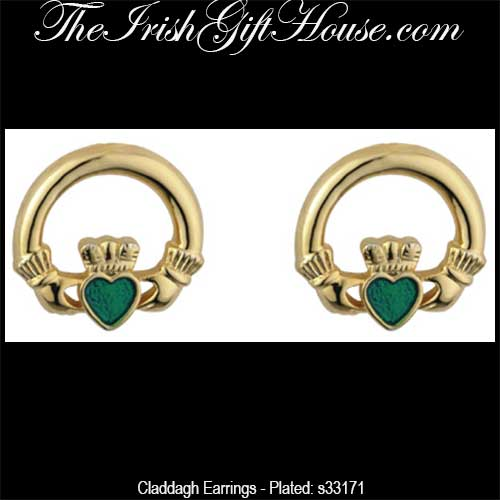 7d130a923bc21 Claddagh Stud Earrings: Gold Plated with Enamel