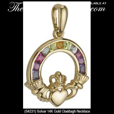 Gold Claddagh Necklace Solvar S44231