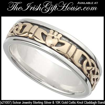 Claddagh Wedding Band for Women Silver with Gold