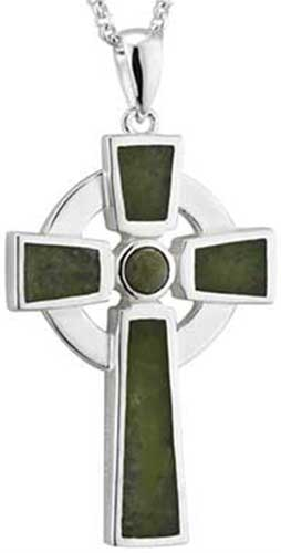 Large Sterling Silver Cross Necklace Irish Connemara Marble