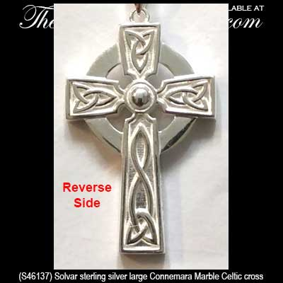 Men S Connemara Marble Celtic Cross Necklace In Sterling