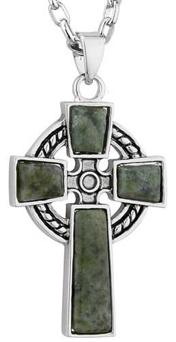 Celtic Cross Pendant Connemara Marble