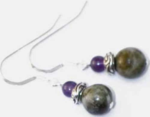 Connemara marble and amethyst earrings Irish jewellery and gifts Natural stone