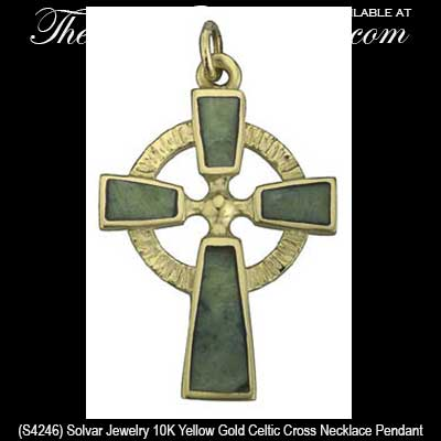 Connemara Marble Gold Celtic Cross Necklace
