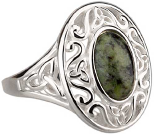 258d1b5fb8832 Connemara Marble Ring - Celtic - Sterling Silver - 2821