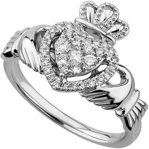 Irish Claddagh Solitare Ring 18K White Gold