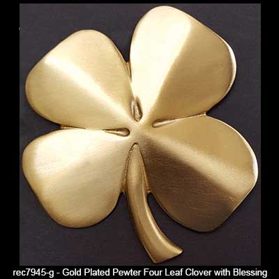 Four Leaf Clover Wall Hanging Gold Plated Irish Blessing
