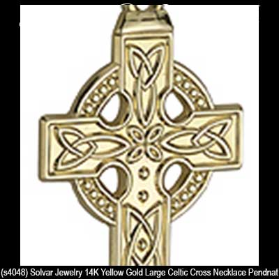 Mens large gold celtic cross necklace engraved gold celtic cross necklace 4048a aloadofball Images