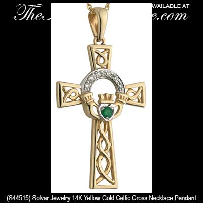 Gold Claddagh Celtic Cross Necklace With Emerald And Diamonds
